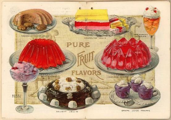 This antique jell-o dessert advertisement features classic gelatin  treats.