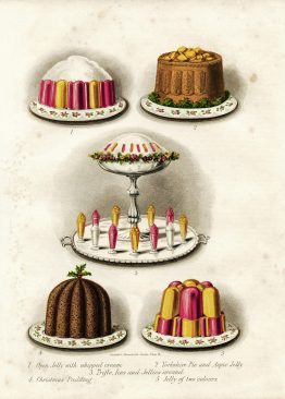 This vintage drawing features gelatin and pudding desserts