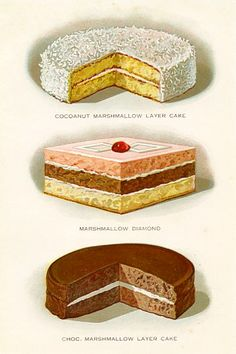 Three delicious vintage illustrations of layer cakes.