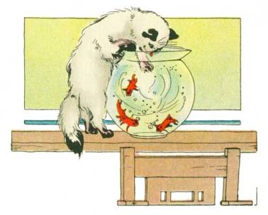 Public domain children's book artwork. Kitten with a fish bowl