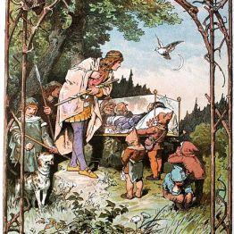 Vintage Print of Snow White's loyal dwarfs