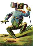 Colorful vintage image of a dancing frog with top hat and cane