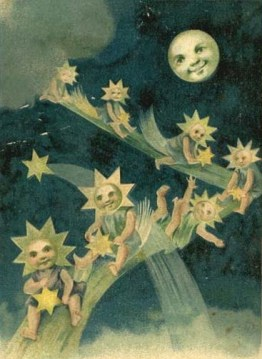 vintage moon with star children