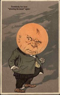 free vintage illustration moon grumpy postcard