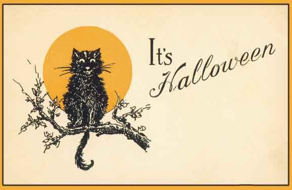 public domain vintage halloween black cat yellow moon