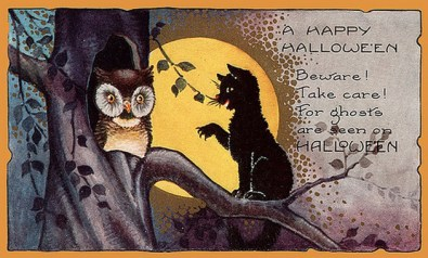 public domain vintage halloween card black cat and owl