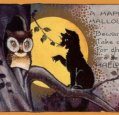 public domain vintage halloween card black cat and owl