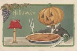 public domain vintage halloween postacard jack o lantern eating dinner bizarre