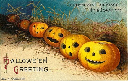 public domain vintage halloween postcard row of jack o lanterns