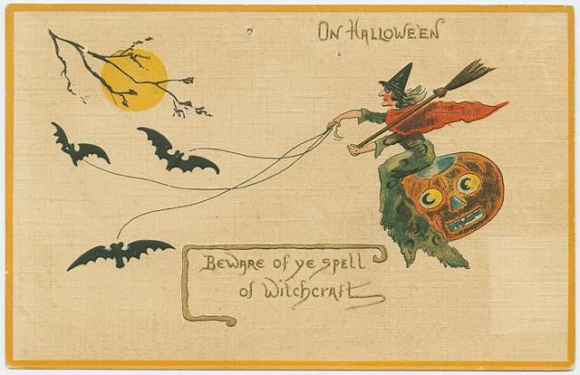 public domain vintage halloween print antique witch illustration pic 5