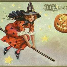 public domain vintage halloween witch flying with stars