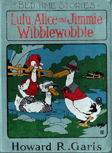 Public domain vintage childrens book cover featuring cartoon ducks, the wibblewobbles