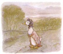 Public Domain vintage children's book illustration of a mother duck from Beatrix Potter