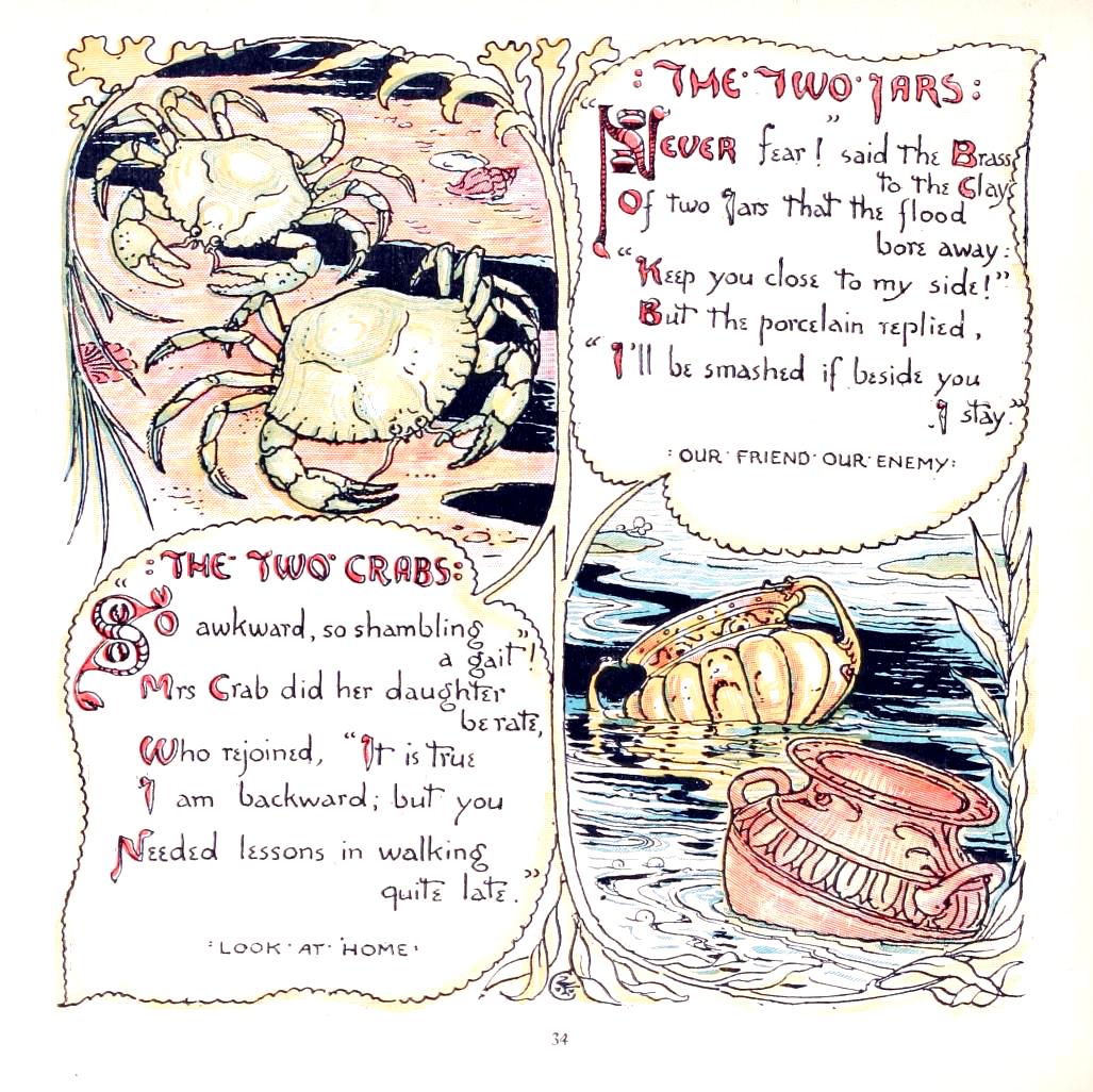 public domain aesop crab illustration from vintage childrens books