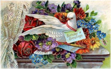 a public domain vintage antique birthday card with dove and colorful flowers.
