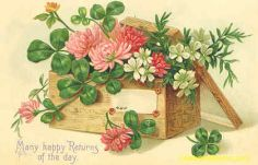 public domain vintage antique greeting card with flower box