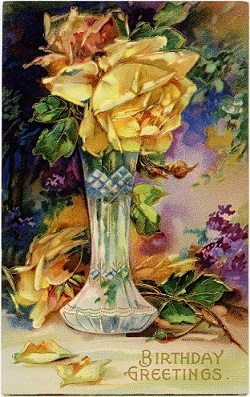 A public domain antique vintage birthday card with yellow rose in vase.