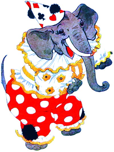 public domain vintage antique childrens book illustration of clown elephant
