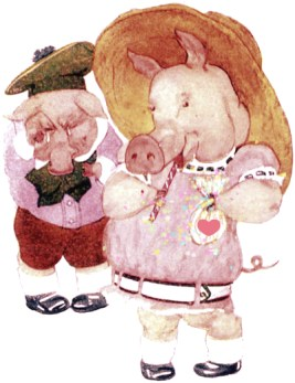 public domain vintage childrens book illustration animal pigs