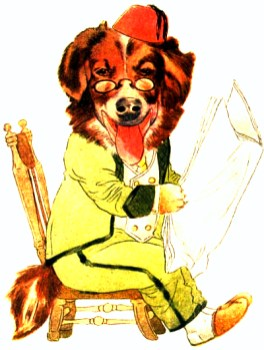 public domain vintage childrens book illustration animal reading dog