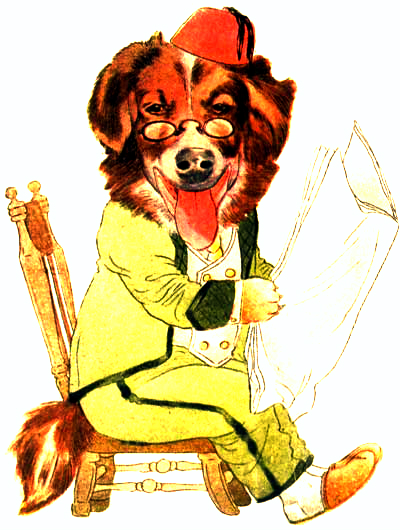 public domain vintage antique childrens book illustration of dog reading newspaper