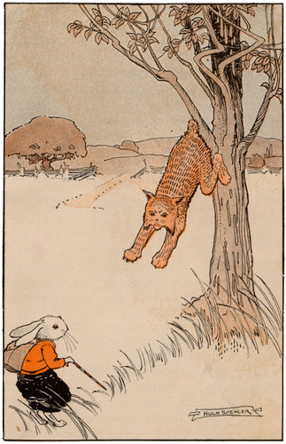A vintage illustration from the Public domain vintage childrens book, Billy Bunny and Daddy Fox by David Cory