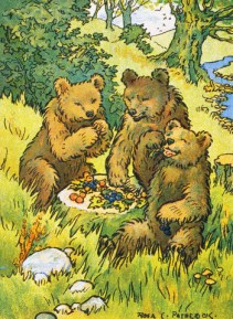 Illustration Depicting Three Picnicking Bears by Rosa C. Petherick