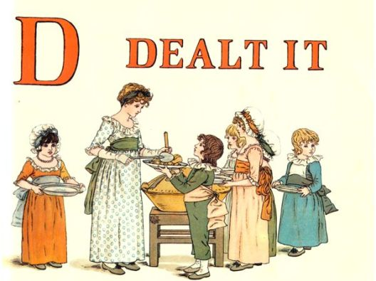 Free public domain vintage children's book illustration from Apple Pie by Kate Greenaway. Letter d. Antique Alphabet book.