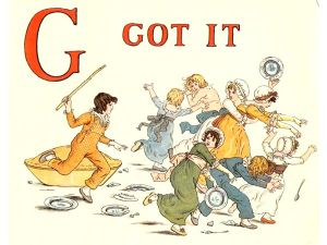 Free public domain vintage children's book illustration from Apple Pie by Kate Greenaway. Letter g. Antique Alphabet book.