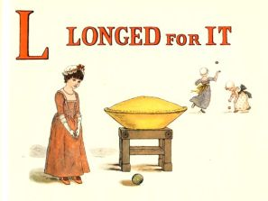 Free public domain vintage children's book illustration from Apple Pie by Kate Greenaway. Letter l. Antique Alphabet book.