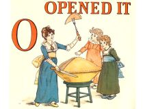 Free public domain vintage children's book illustration from Apple Pie by Kate Greenaway. Letter o. Antique Alphabet book.