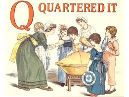Free public domain vintage children's book illustration from Apple Pie by Kate Greenaway. Letter q. Antique Alphabet book.