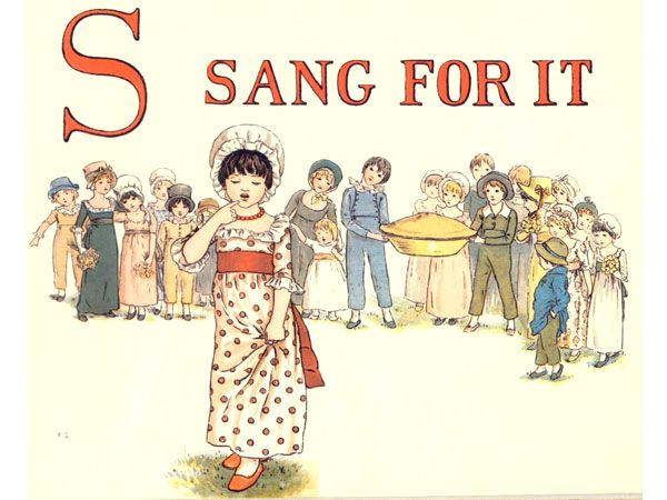 Free public domain vintage children's book illustration from Apple Pie by Kate Greenaway. Letter s. Antique Alphabet book.
