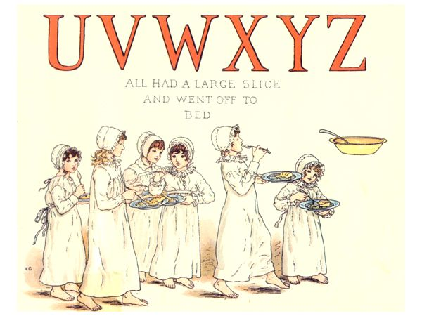 Free public domain vintage children's book illustration from Apple Pie by Kate Greenaway. Letter u, v, w, x, y, and z. Antique Alphabet book.