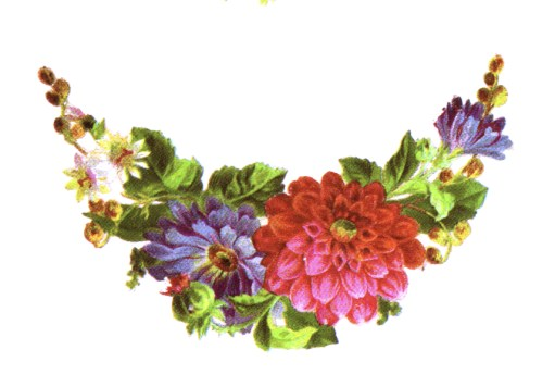 public domain vintage clipart floral arrangement crescent bouquet
