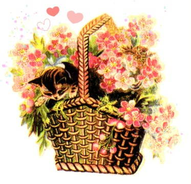 public domain vintage clipart kitten in basket of flowers