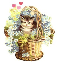 vintage clipart kitten in flower basket