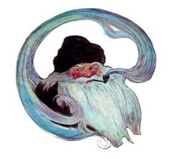A public domain vintage book illustration of Santa from Antique Twas the Night Before Christmas