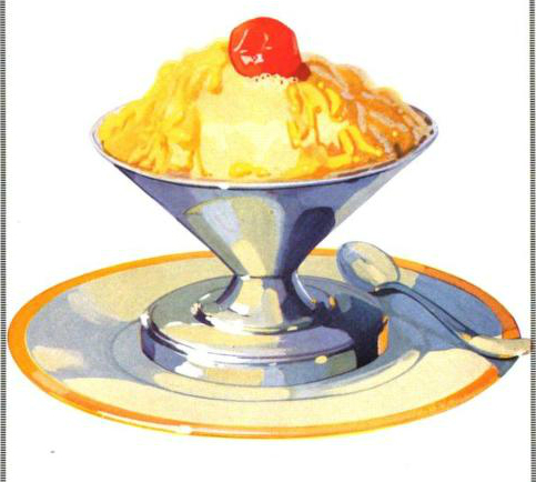 A free vintage illustration of classic ice cream in bowl from antique journal