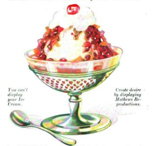 A free vintage advertisement illustration of a mixed berries ice cream sundae