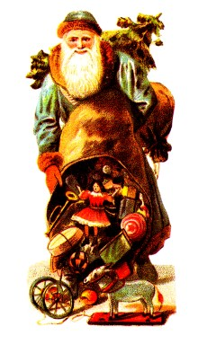 Free vintage illustration of antique Santa Claus with toy sack