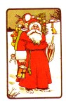 Free antique illustration of Classic santa claus in the snow