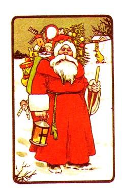 Free antique illustration of Classic santa claus in the snow