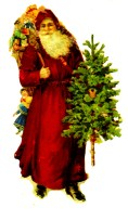 A free vintage illustration of Victorian Santa Claus with Christmas Tree