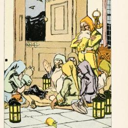 A free vintage book illustration from a 1913 public domain version of snow white and the seven dwarves