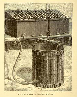 A free vintage scientific illustration of antique batteries