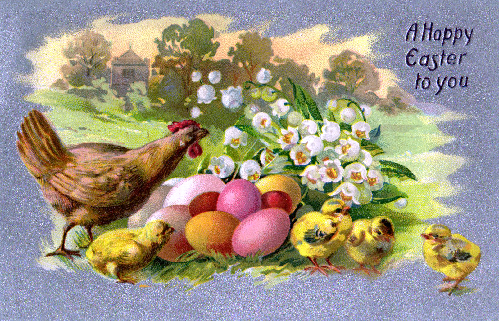This is a free vintage illustration of a colorful Easter scene from an antique Easter postcard