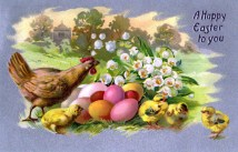free vintage easter illustration of chicks and eggs from antique victorian postcard