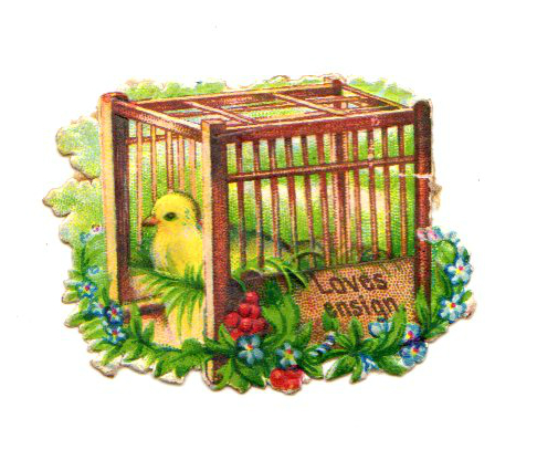 This is a free vintage Easter illustration of a yellow bird in a floral birdcage