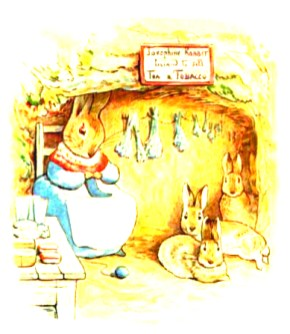 This is a free vintage Easter image from Beatrix Potter's classic Benjamin Bunny